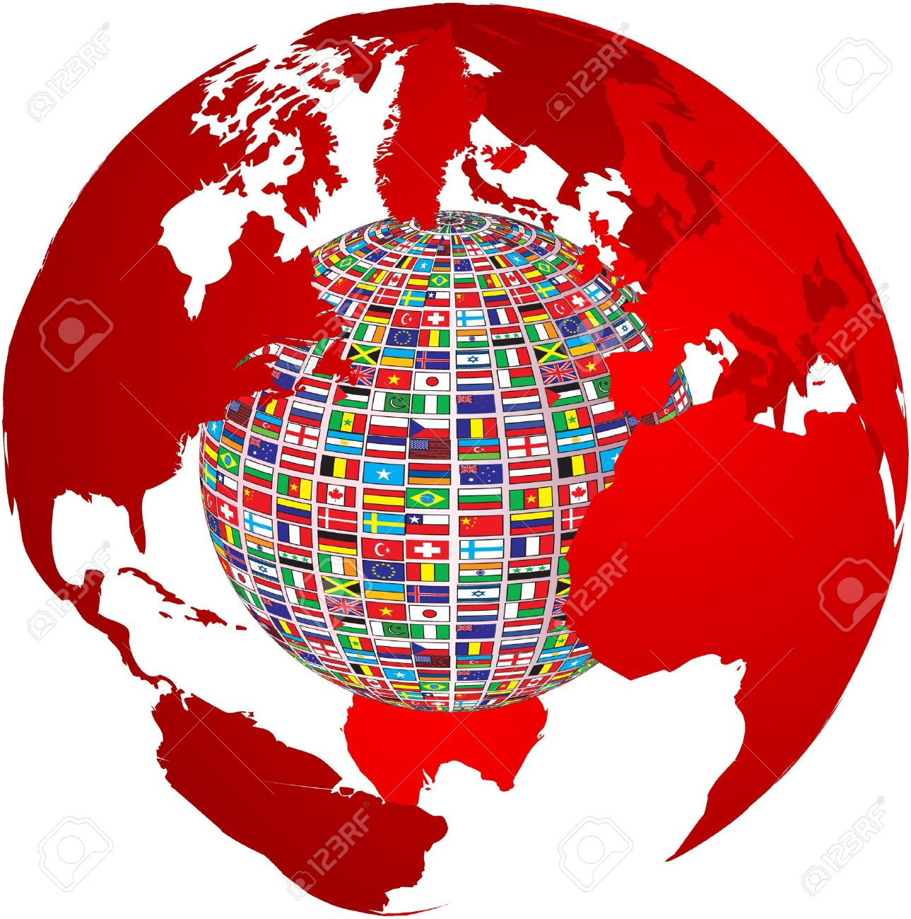 Transparency World Map With Country Flags On It Royalty Free - Us vector map on transparent back
