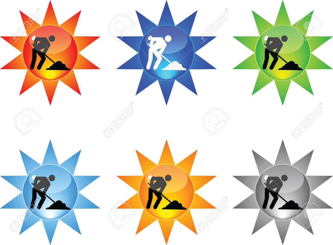 web button - worker Stock Vector - 10805957