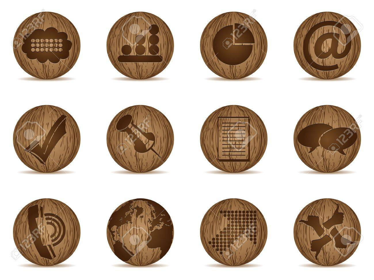 office icons made of wooden balls Stock Vector - 10805684