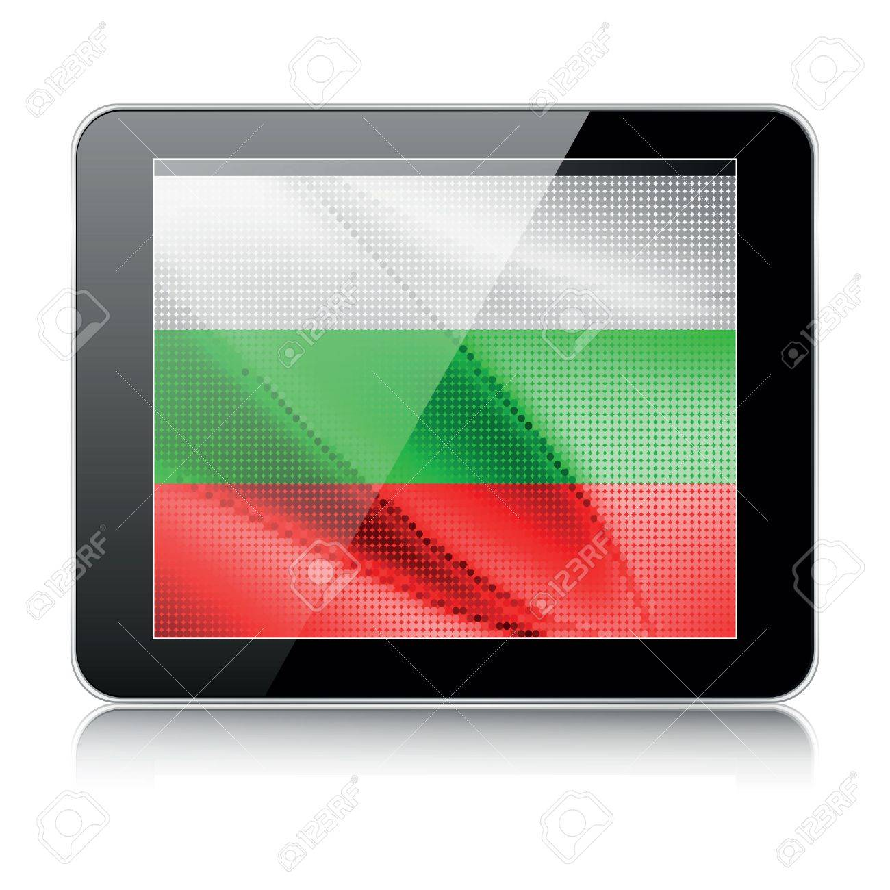 tablet icon with bulgarian flag Stock Vector - 12487575