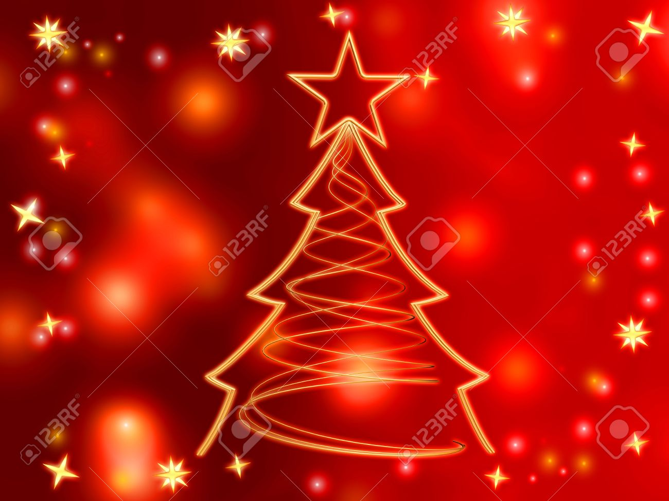dorado rbol de navidad con estrellas doradas y luces sobre fondo rojo foto de archivo