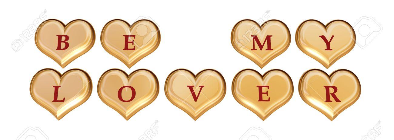 3d Cœur Dor Avec Lettres Rouge Avec Texte être Mon Amant Isolés