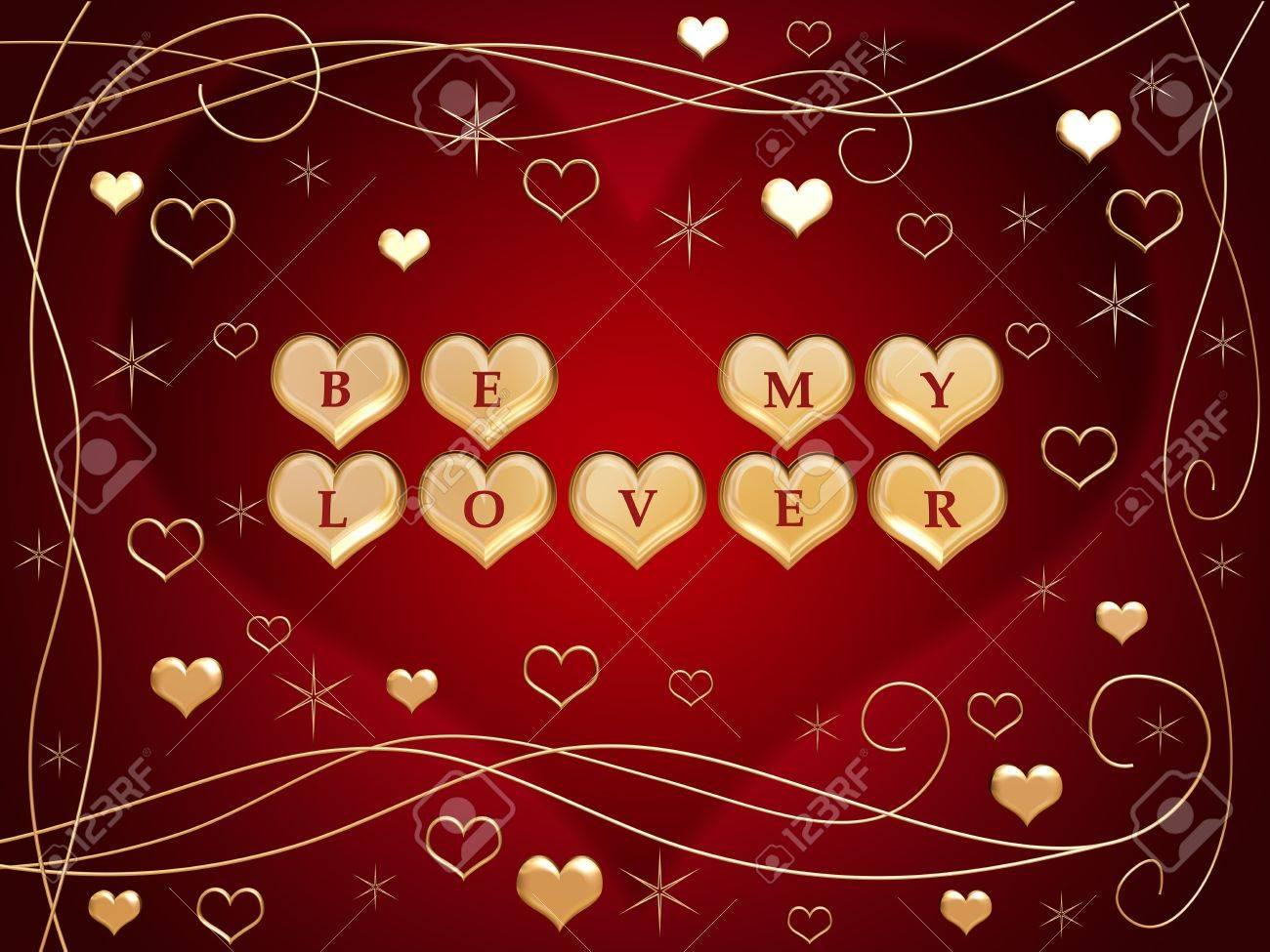 Les Lettres De Coeurs Or Rouge 3d Texte être Mon Amant Des Fleurs Des étoiles