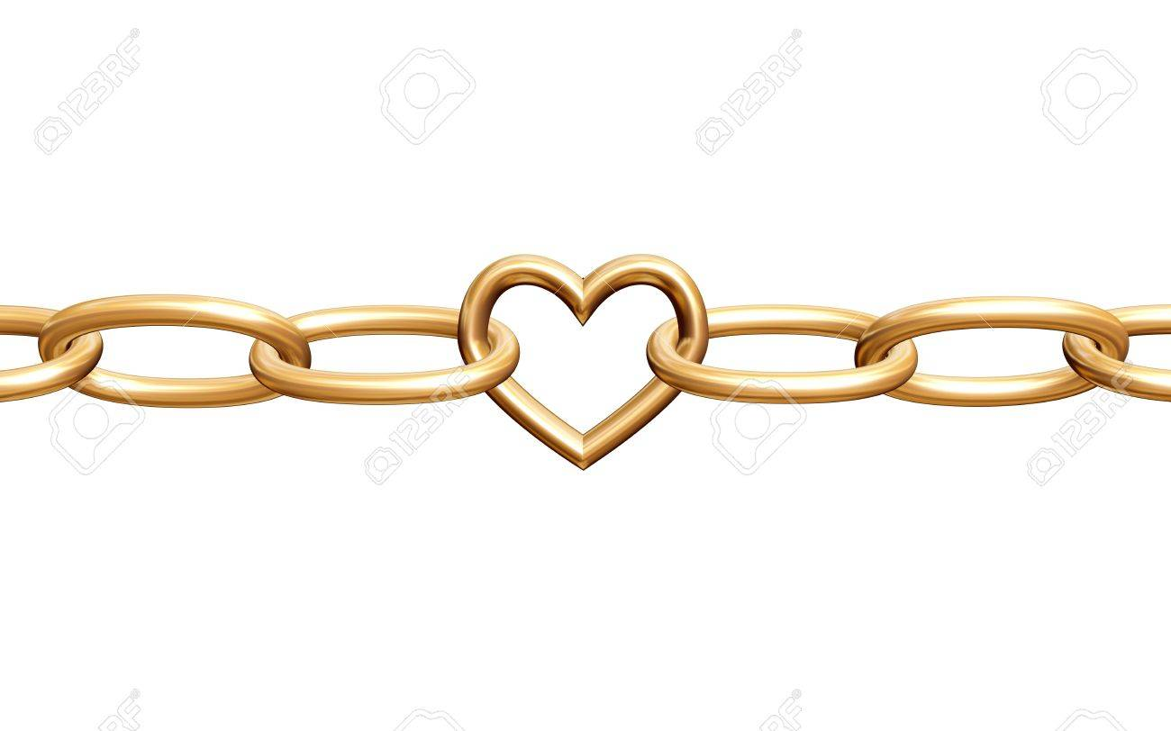 3d golden heart with chain, fetters, isolated Stock Photo - 2433728