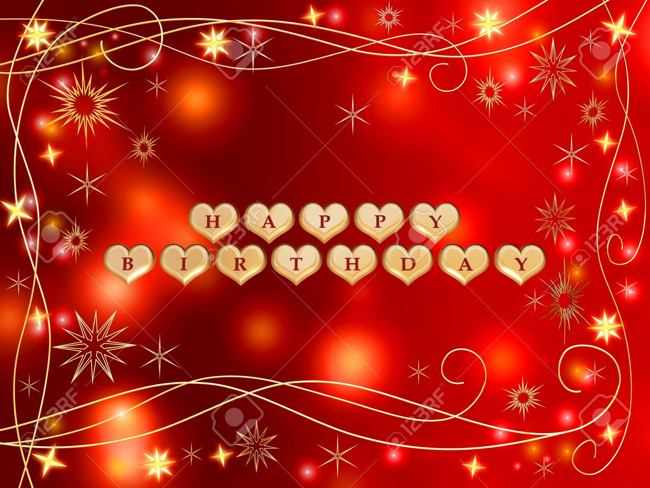 3d golden hearts, red letters, text - happy birthday, stars Stock Photo - 2580031