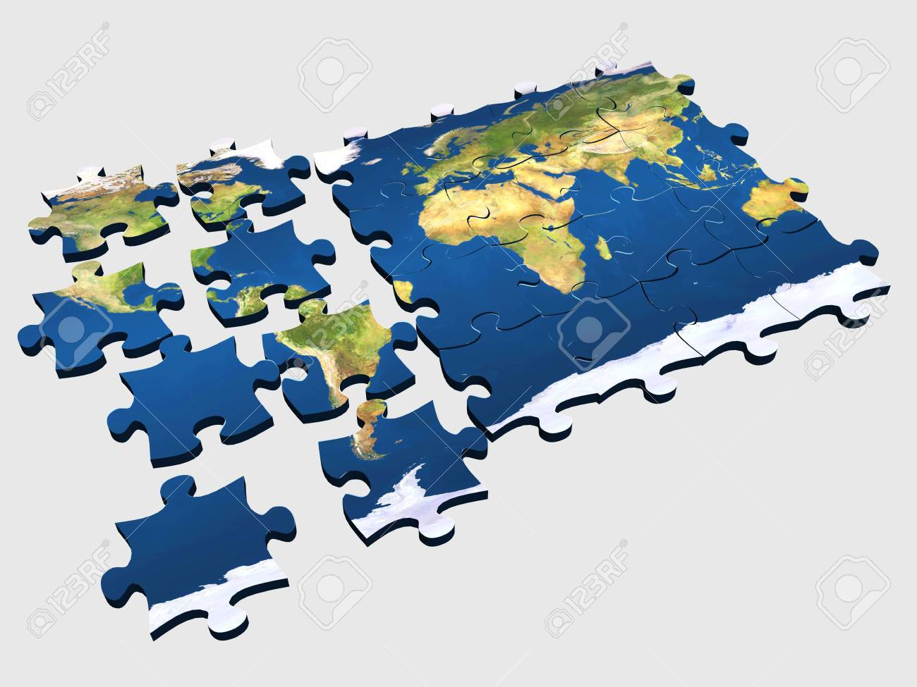 3d Coloured Puzzle With World Map On Pieces Photo Picture – Map World Puzzle