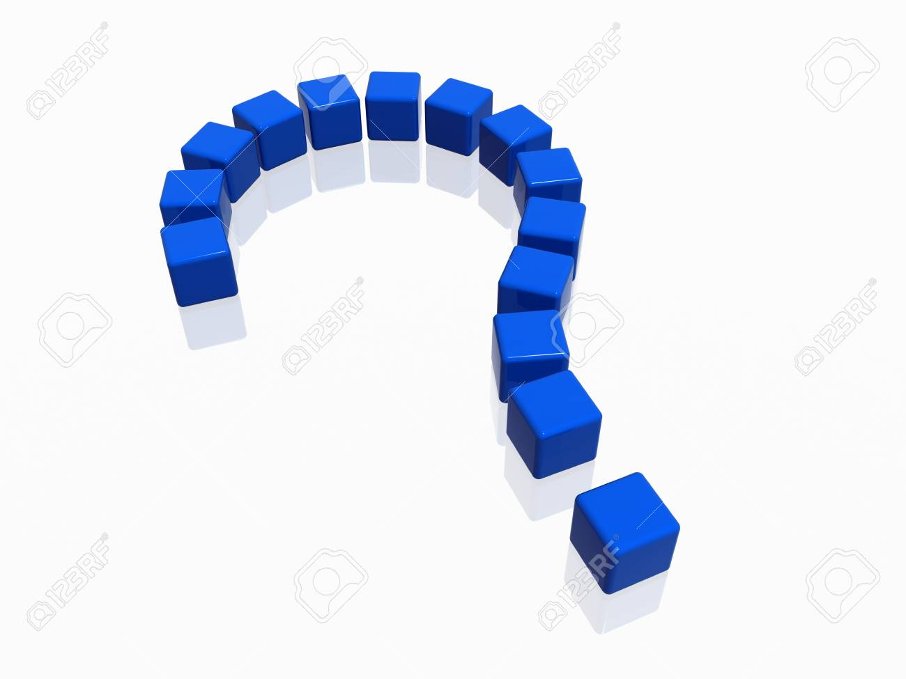 3d  colour boxes arranged like question-mark in blue Stock Photo - 3734404