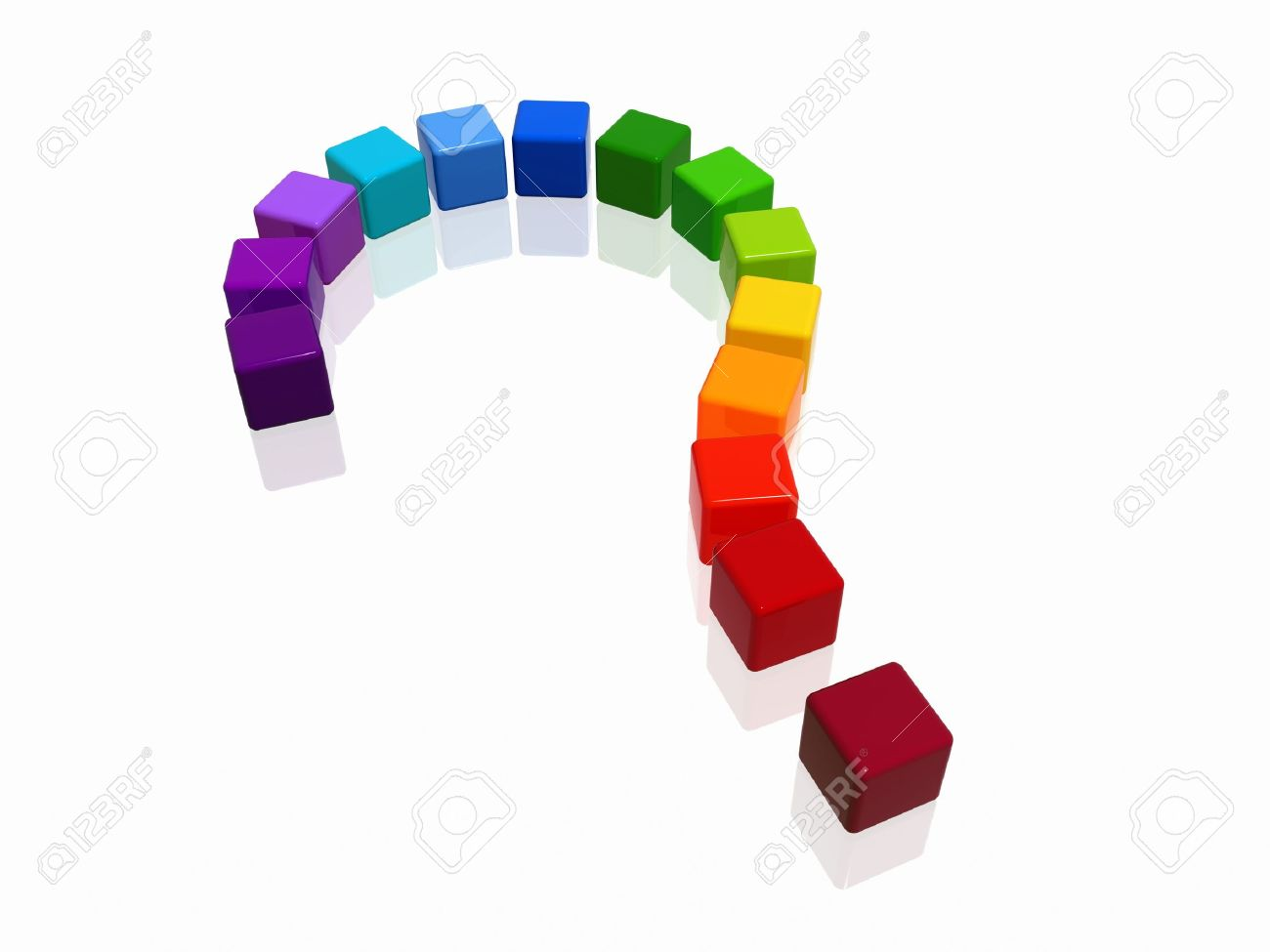 3d colour boxes arranged like question-mark, rainbow Stock Photo - 3744396