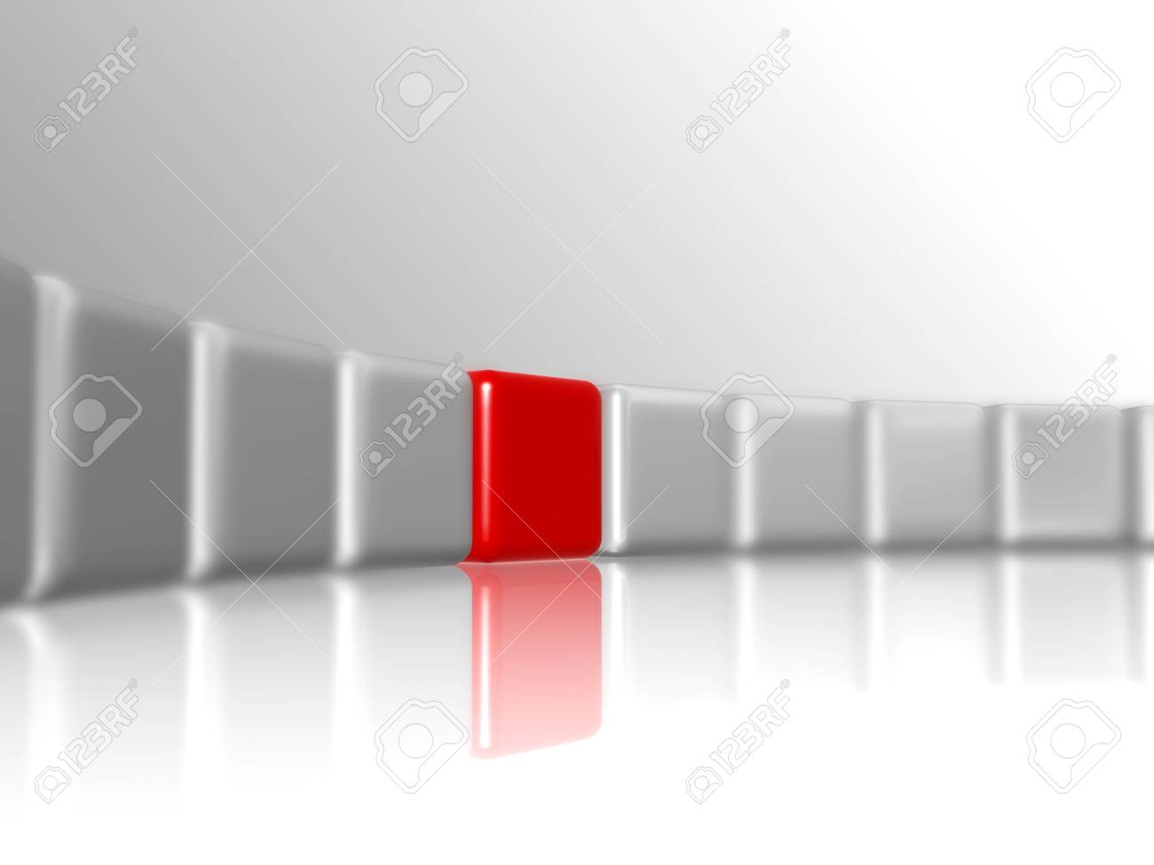 row of 3d white-grey cubes with one red in the middle Stock Photo - 5325428