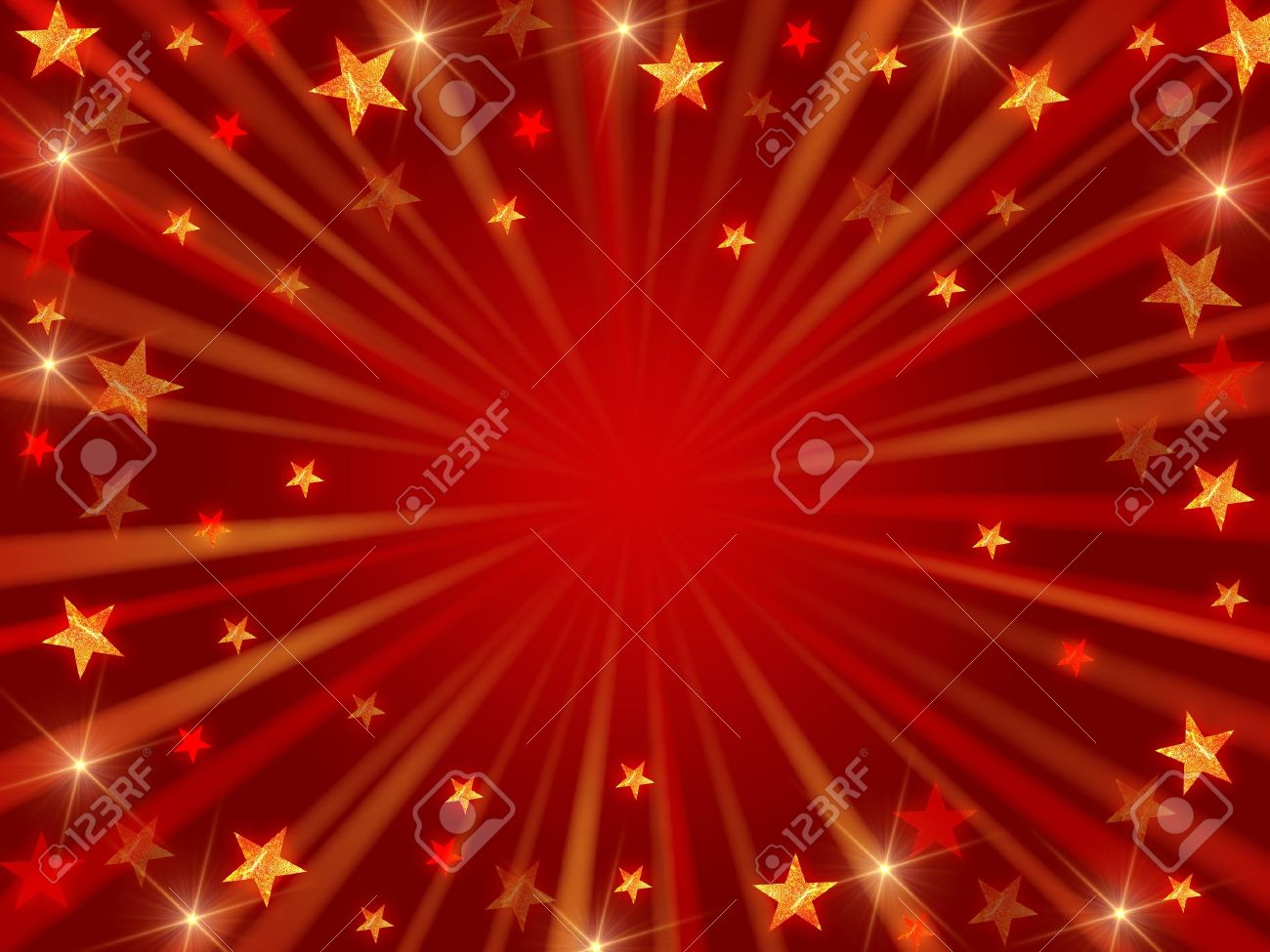 red christmas background with stars, lights and rays Stock Photo - 5858280