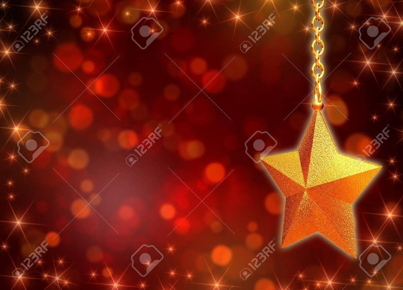 3d golden star with chains over red background with lights Stock Photo - 11563669
