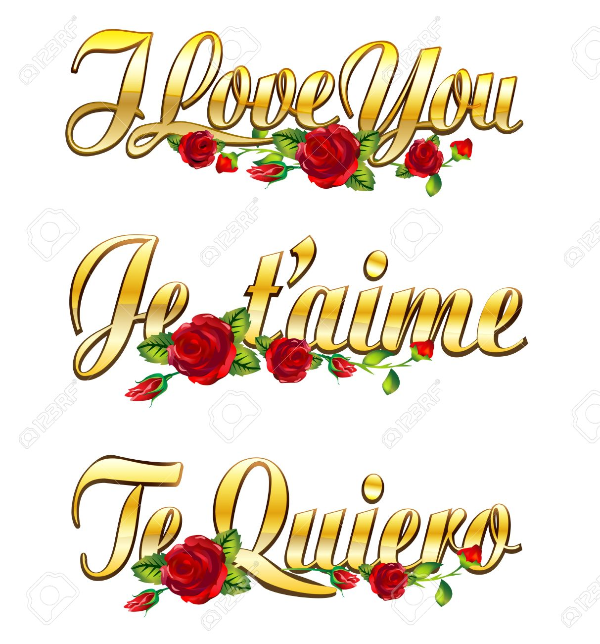 text I love you, Je t'aime and Te quiero with red roses Stock Photo - 12052645