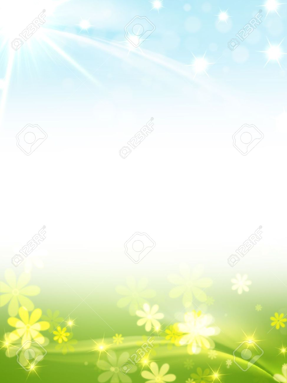blue green frame with flowers, stars and sun, spring motif Stock Photo - 12548554