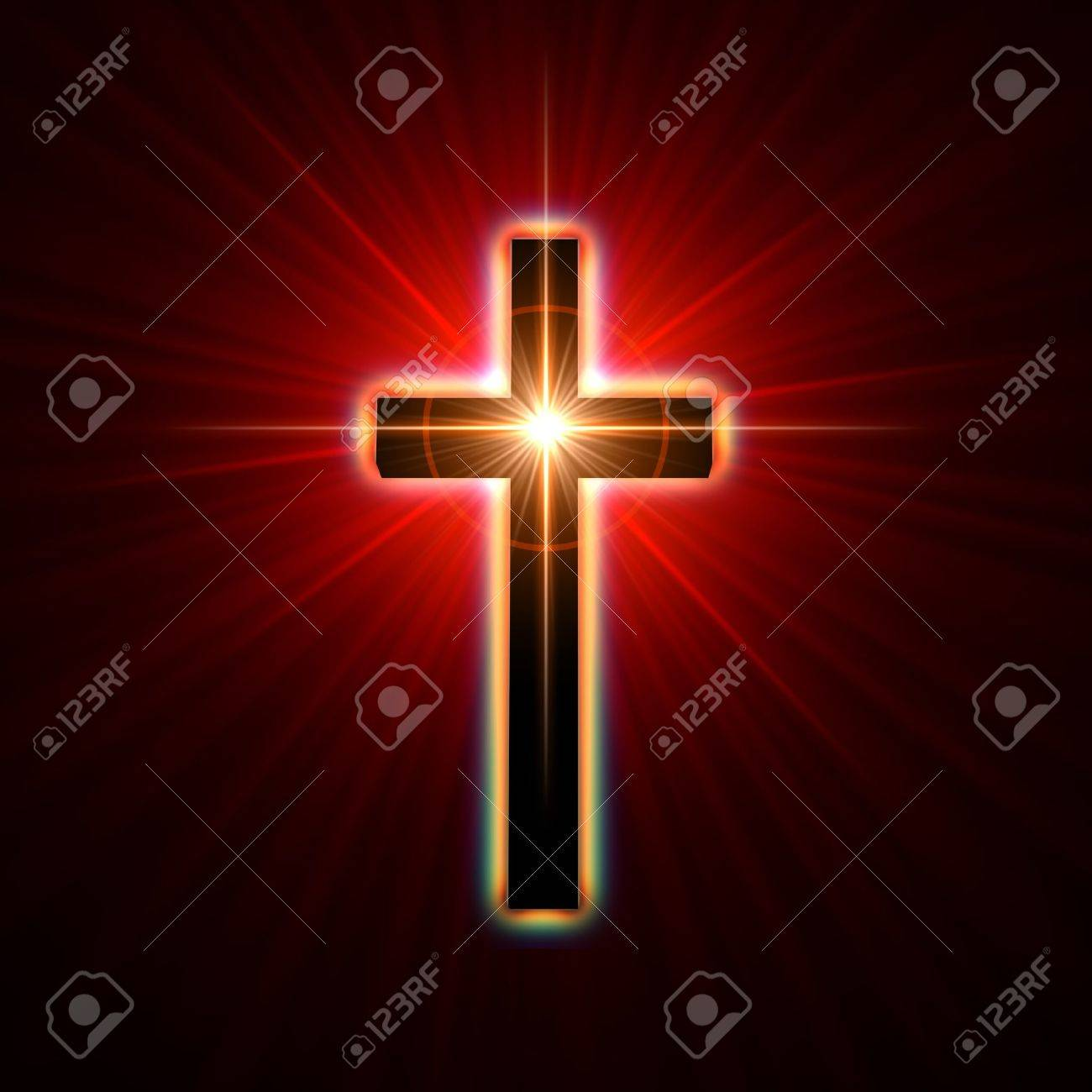 back glowing cross over red light rays stock photo picture and