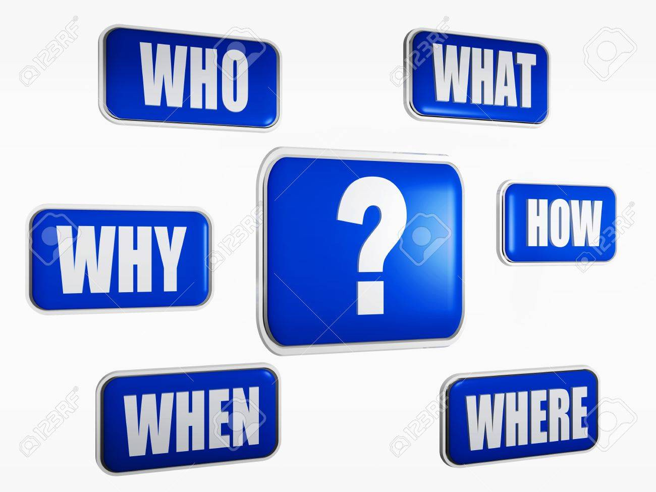 Question sign and word why, where, when, who, how, what Stock Photo - 13219669