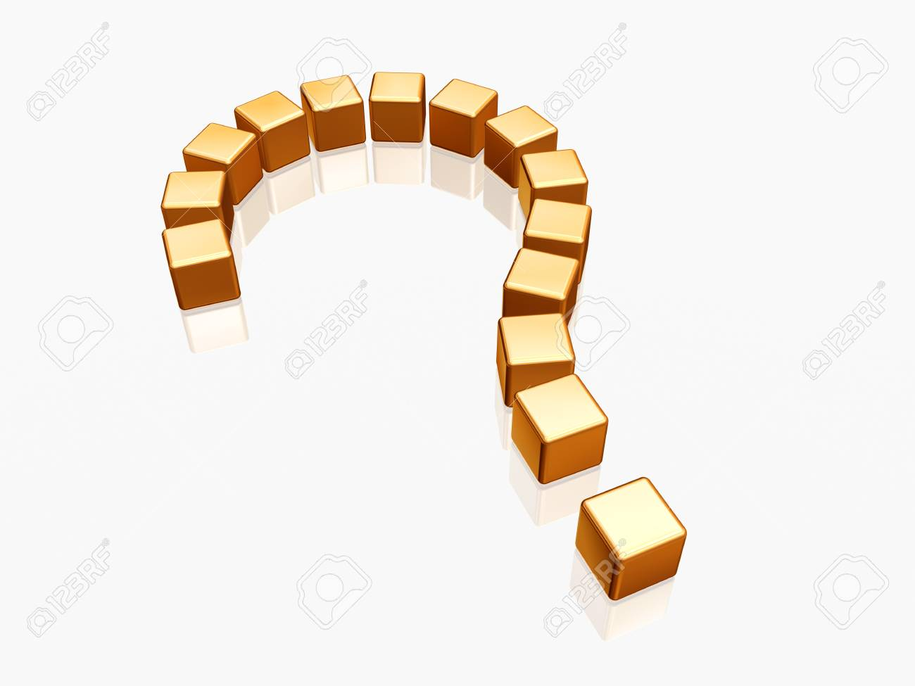 3d golden question sign over white and reflection Stock Photo - 13625371