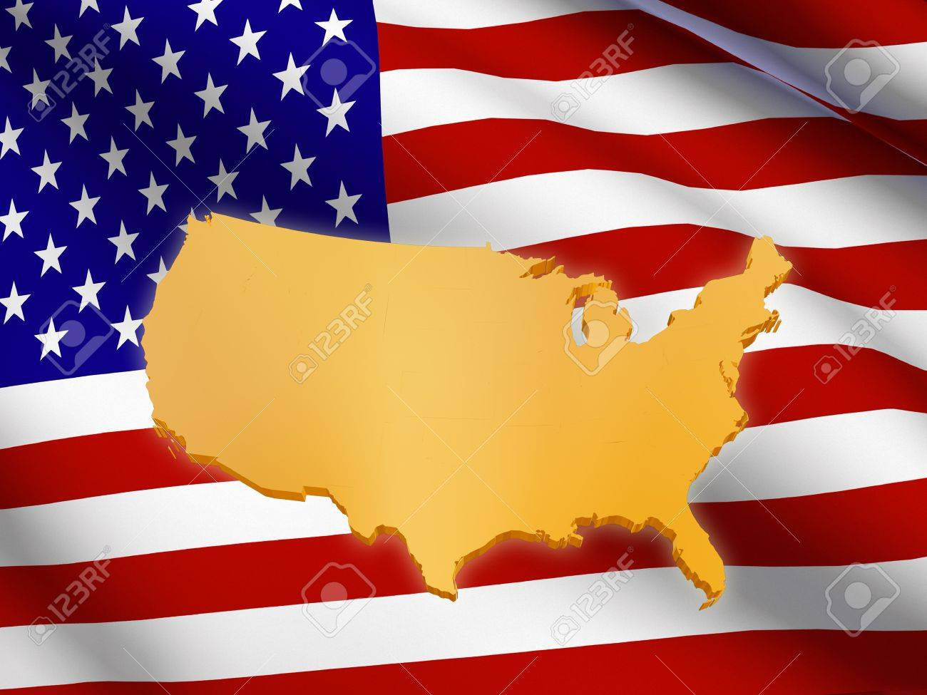 D Golden USA Map Over American Flag Stock Photo Picture And - Us map american flag