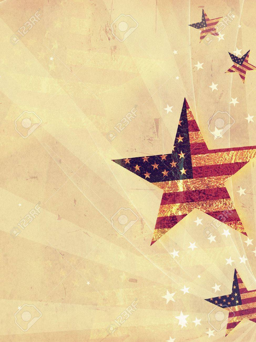 stars with USA flag and rays over old paper background Stock Photo - 14013507