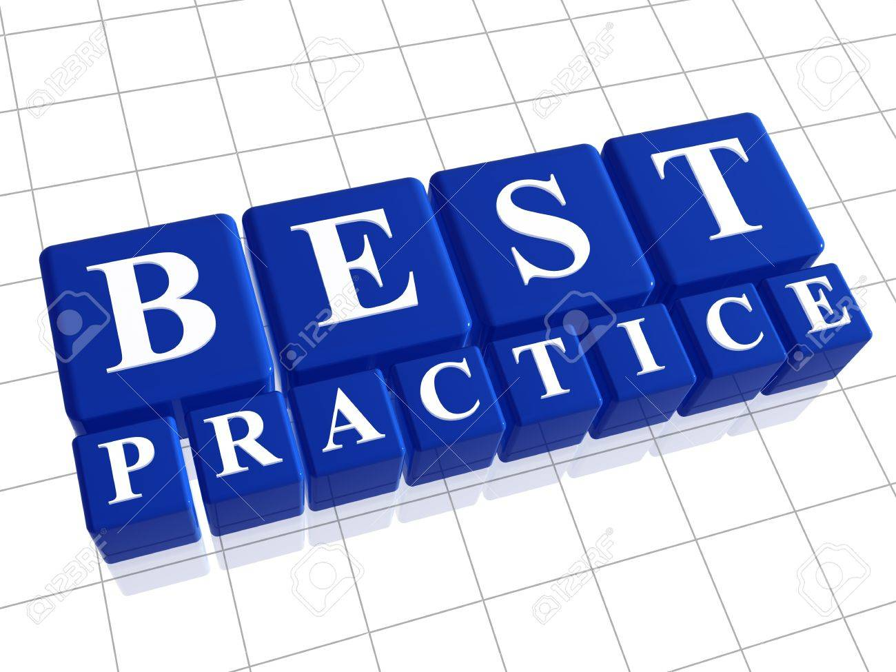 Best practice 3d blue boxes with white letters Stock Photo - 14239533