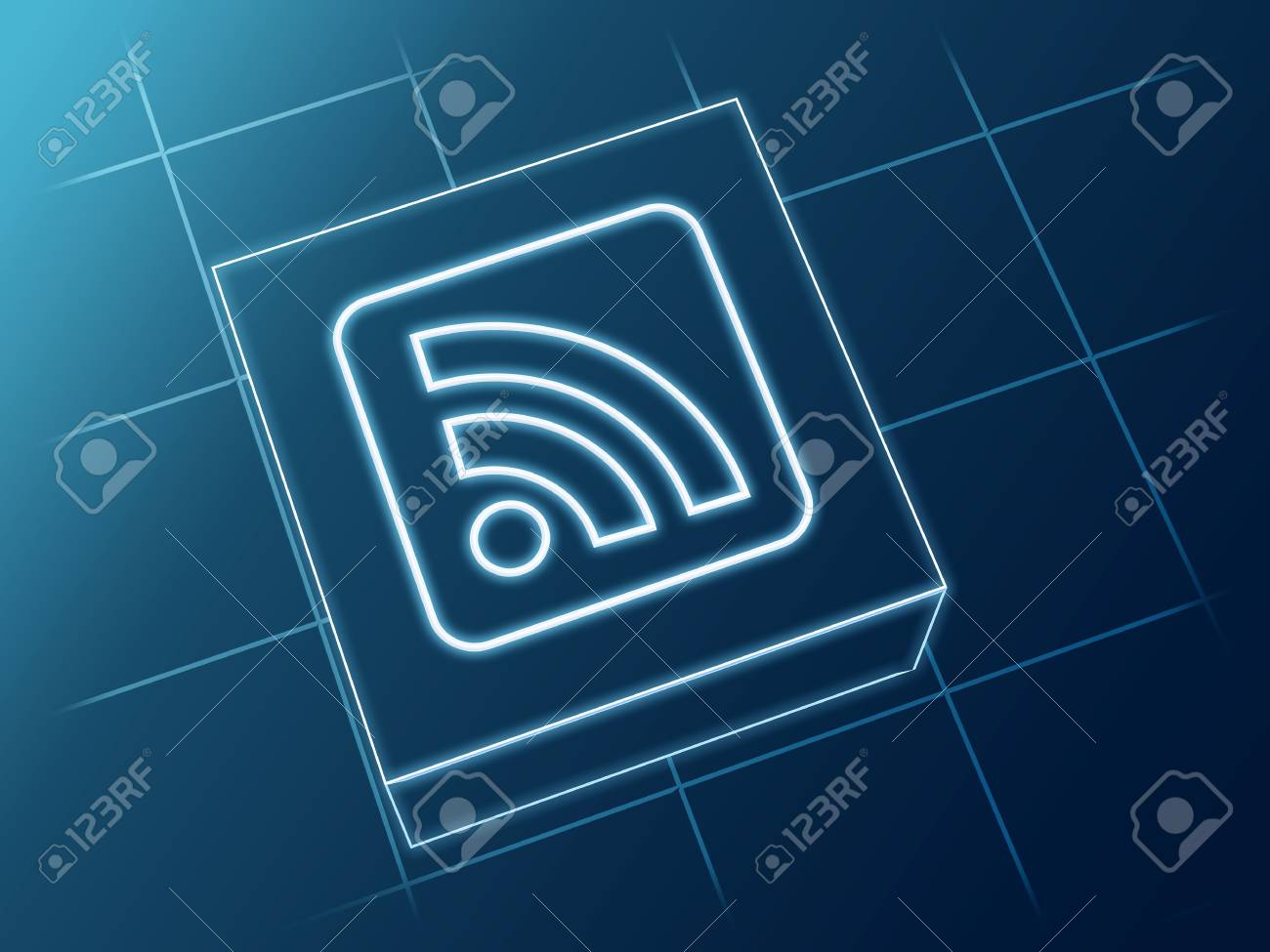 Wire Glowing Rss News Sign Over Box And Net Stock Photo, Picture And ...
