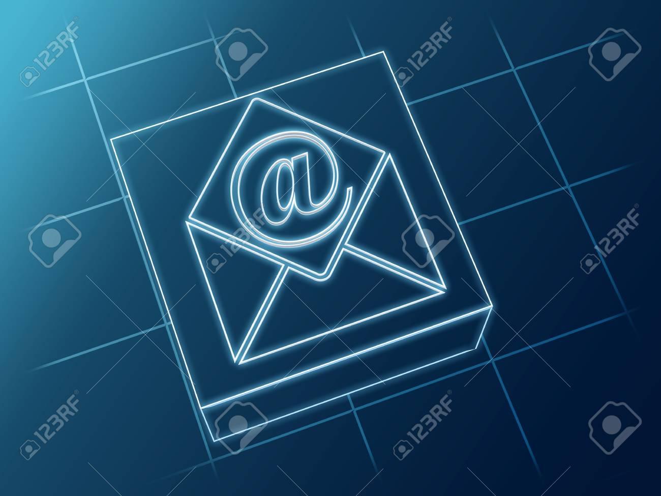 Wire Glühende E-Mail Und Umschlag Schild über Box Und Net ...