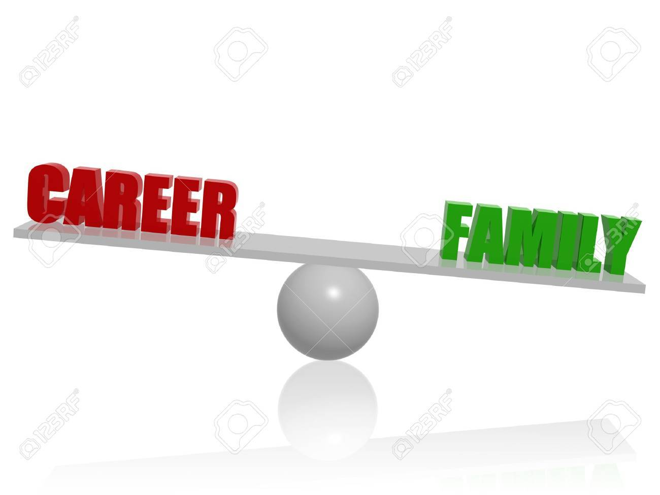 Red career green family balance 3d concept render Stock Photo - 14513254