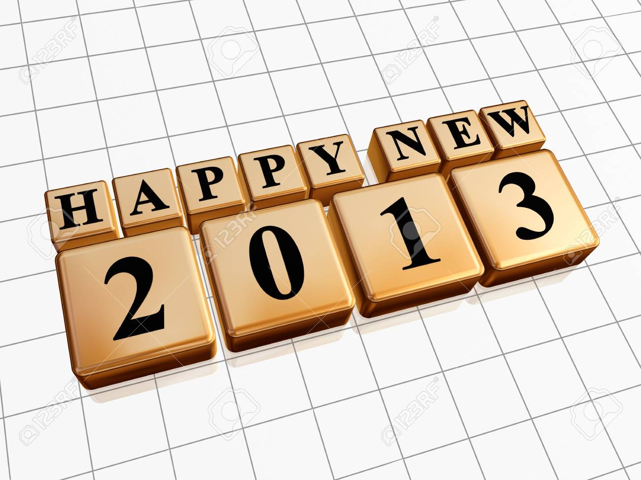 text happy new year 2013 in 3d golden cubes with black figures like ciphers Stock Photo - 16229065
