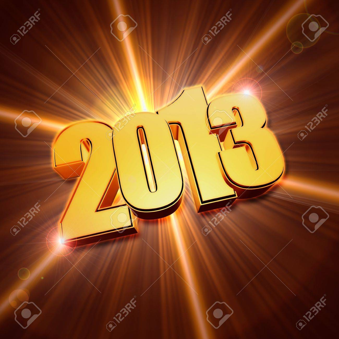 golden year 2013 with light rays over shining background with lens flare Stock Photo - 16519378