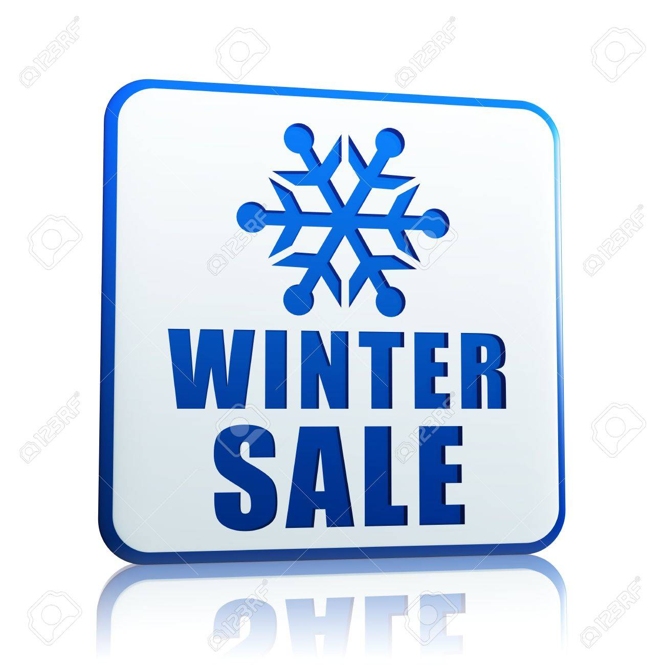 winter sale 3d white banner with blue text and snowflake symbol, business concept Stock Photo - 16519375