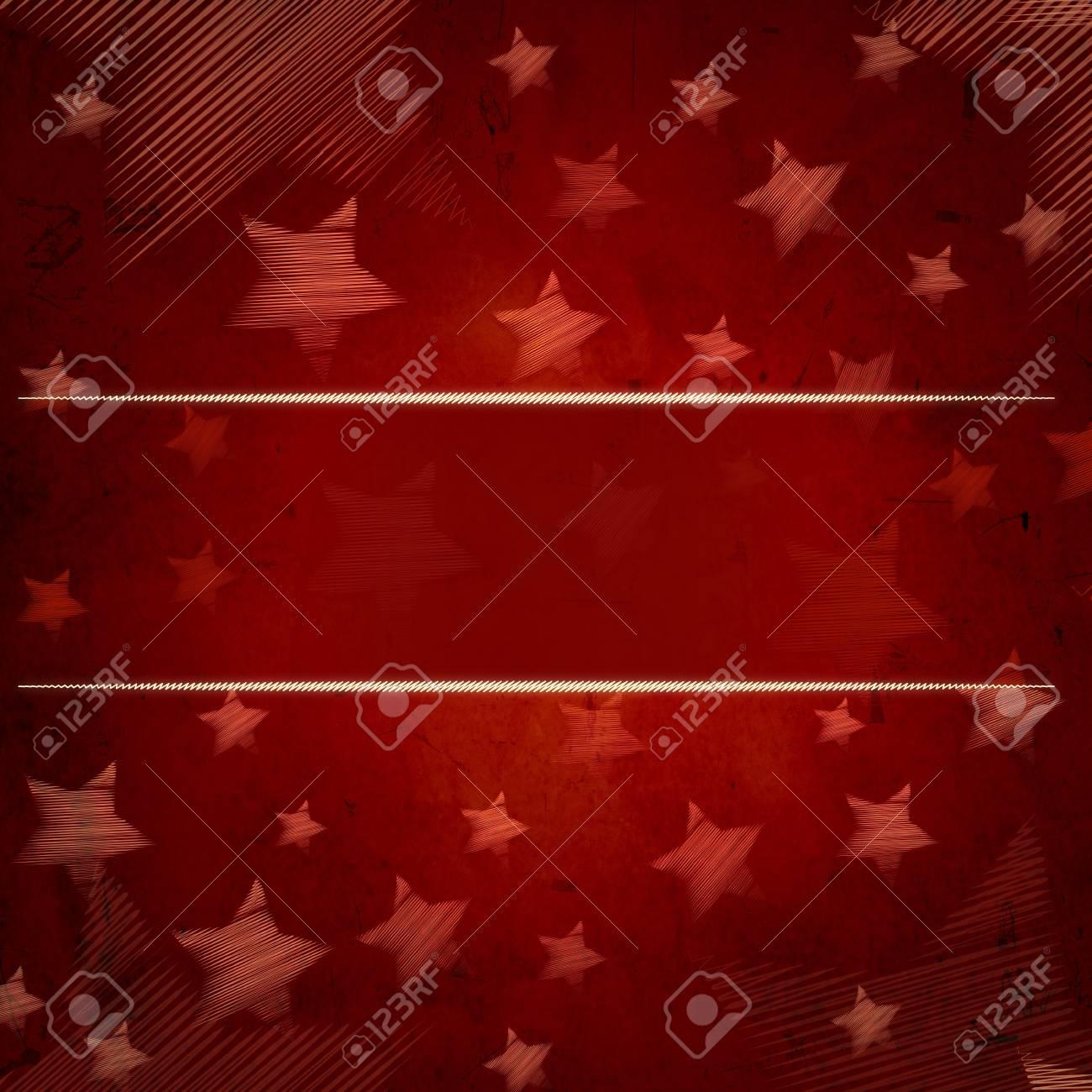 Abstracte Rode Achtergrond Met Geillustreerde Gestreepte Sterren En