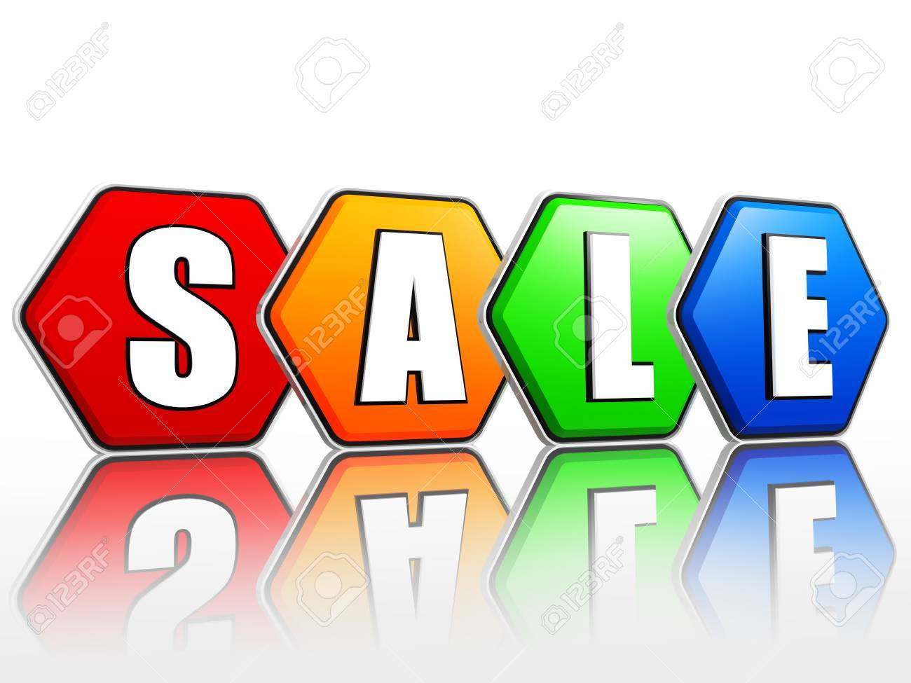 3d color hexagon banners with text sale, business concept Stock Photo - 17211757