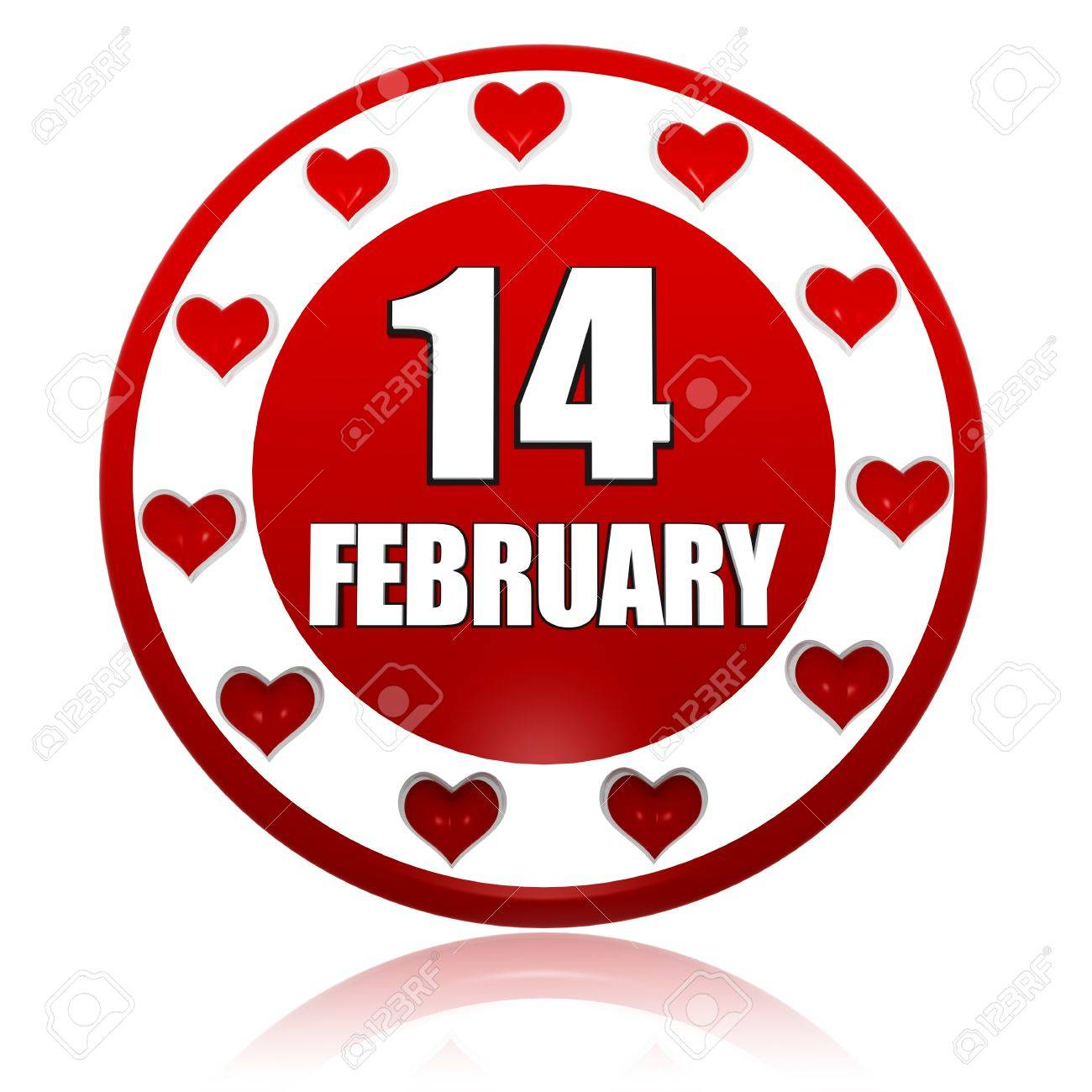 3d red circle banner with white text february 14 and hearts 3d red circle banner with white text february 14 and hearts symbols holiday concept stock biocorpaavc
