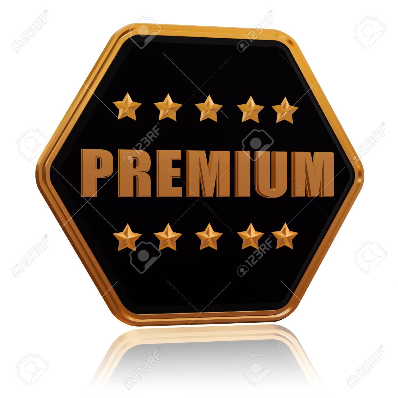 premium - 3d black golden hexagon button with text and five stars Stock Photo - 17570084