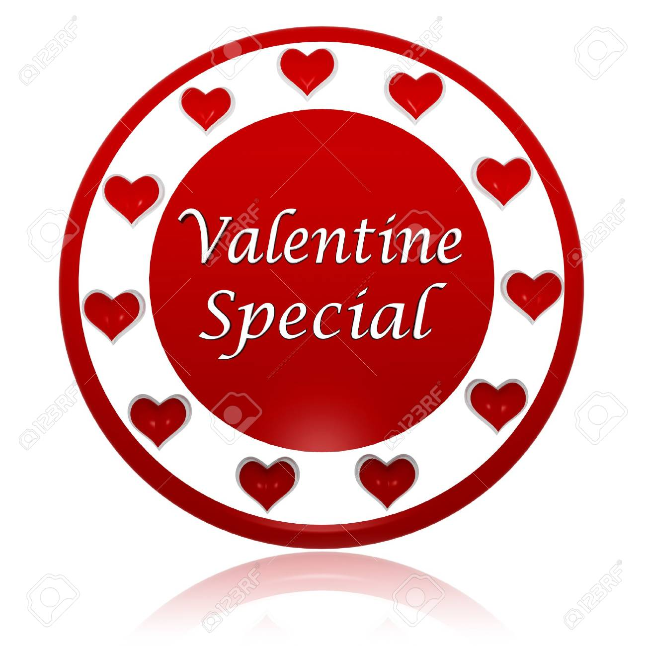3d red circle banner with text valentine special and hearts symbols, holiday and business concept Stock Photo - 17570081