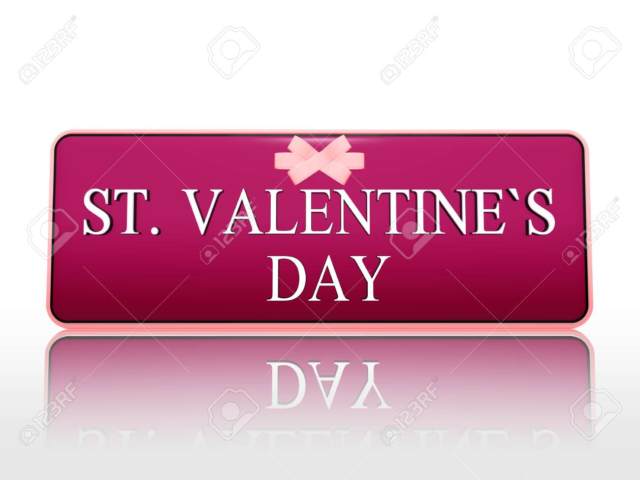 3d purple banner with white text st. valentines day and ribbon, holiday concept Stock Photo - 17570078