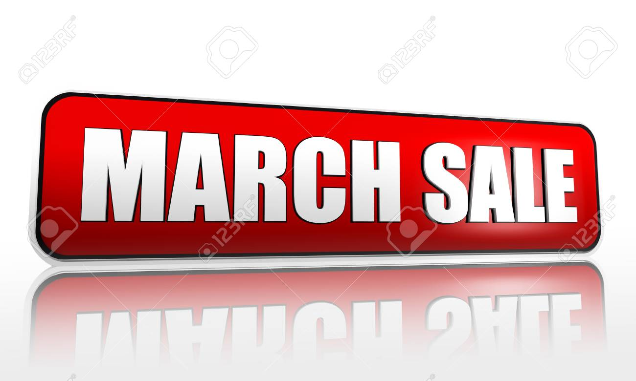 March sale button - 3d red banner with white text, business concept Stock Photo - 17777608