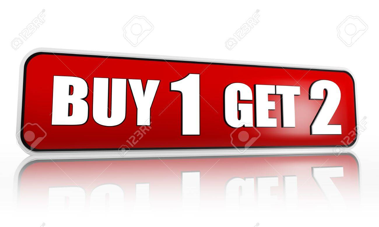 buy one get two button - 3d red banner with white text, business concept Stock Photo - 18078909