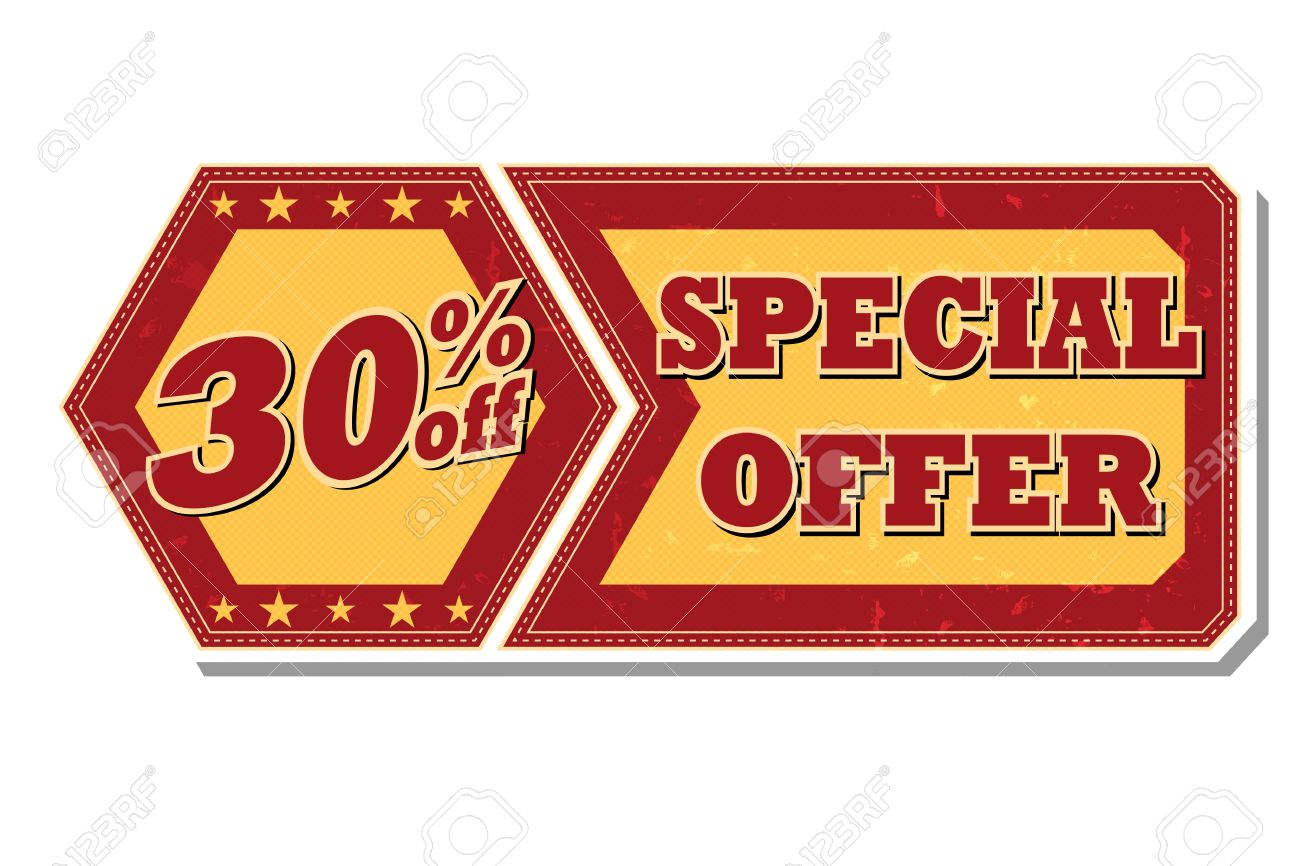 percentages off discount special offer retro style red ocher 30 percentages off discount special offer retro style red ocher hexagon and flyer label