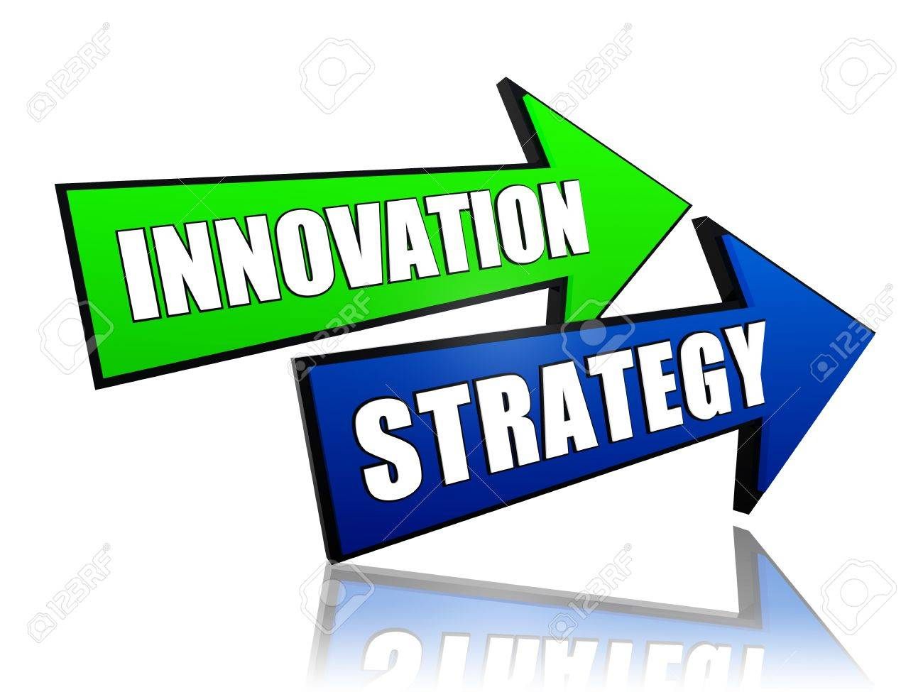 Innovation Strategy - Text In 3d Green Blue Arrows, Business ...