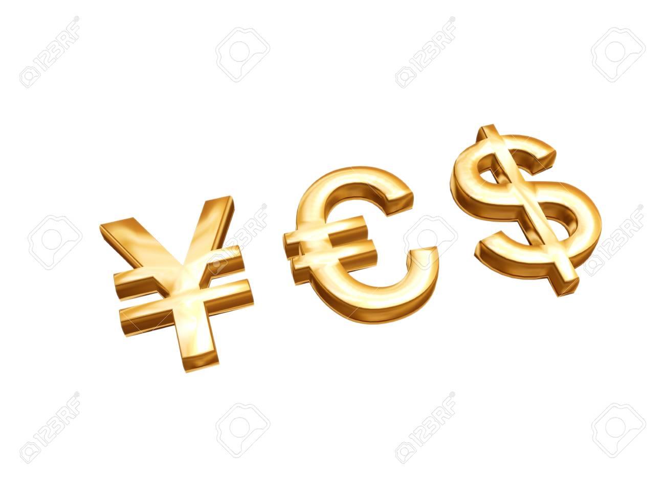 Golden Money Symbols Euro U S Dollar Yen