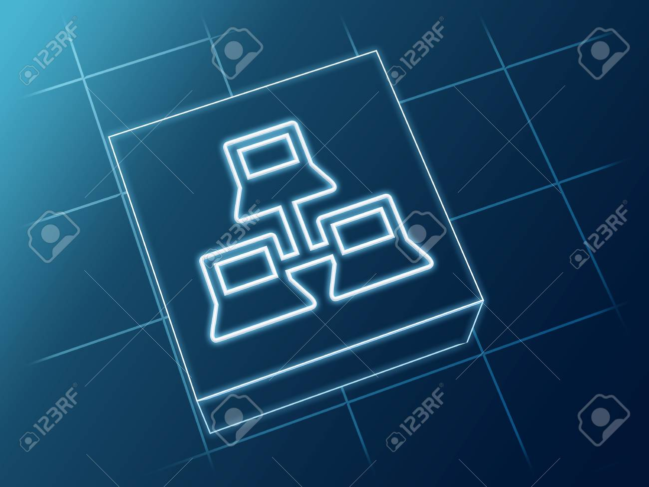 wire glowing Network sign over box and net Stock Photo - 20097838