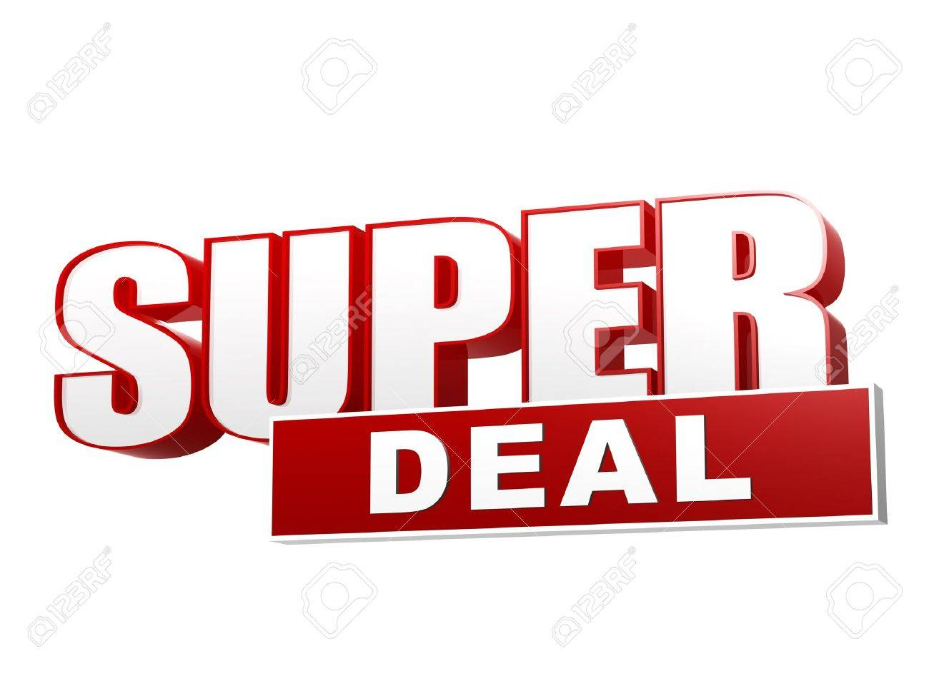stock photo text super deal 3d red white banner letters and block business concept