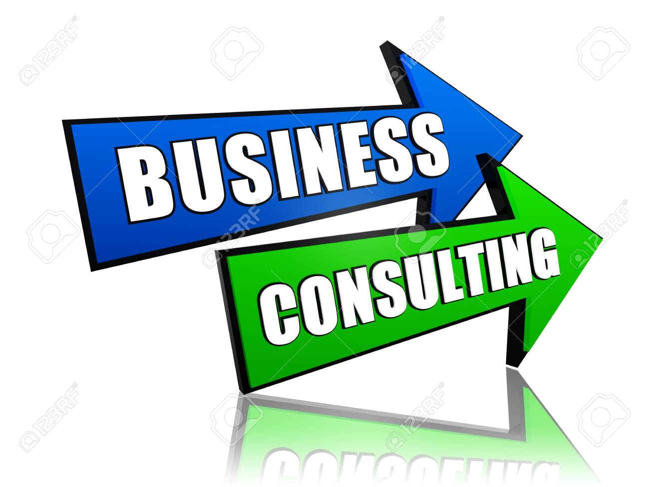 business consulting - text in 3d arrows, management develop concept Stock Photo - 20690360