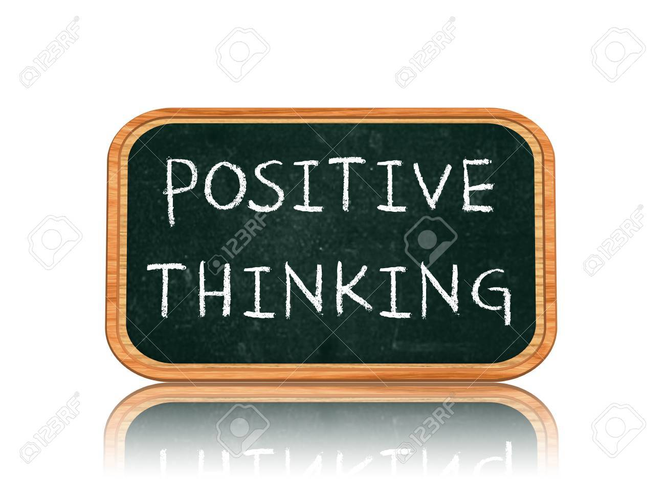 Positive thinking - 3d isolated blackboard banner with chalk text Stock Photo - 21653588