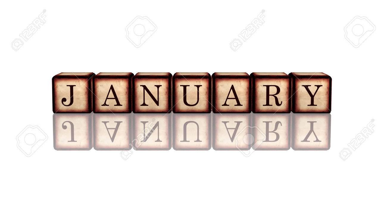 Mese Gennaio Testo In 3d Cubi Di Legno Retrò Con Lettere E La Riflessione Il Concetto Di Calendario Elemento