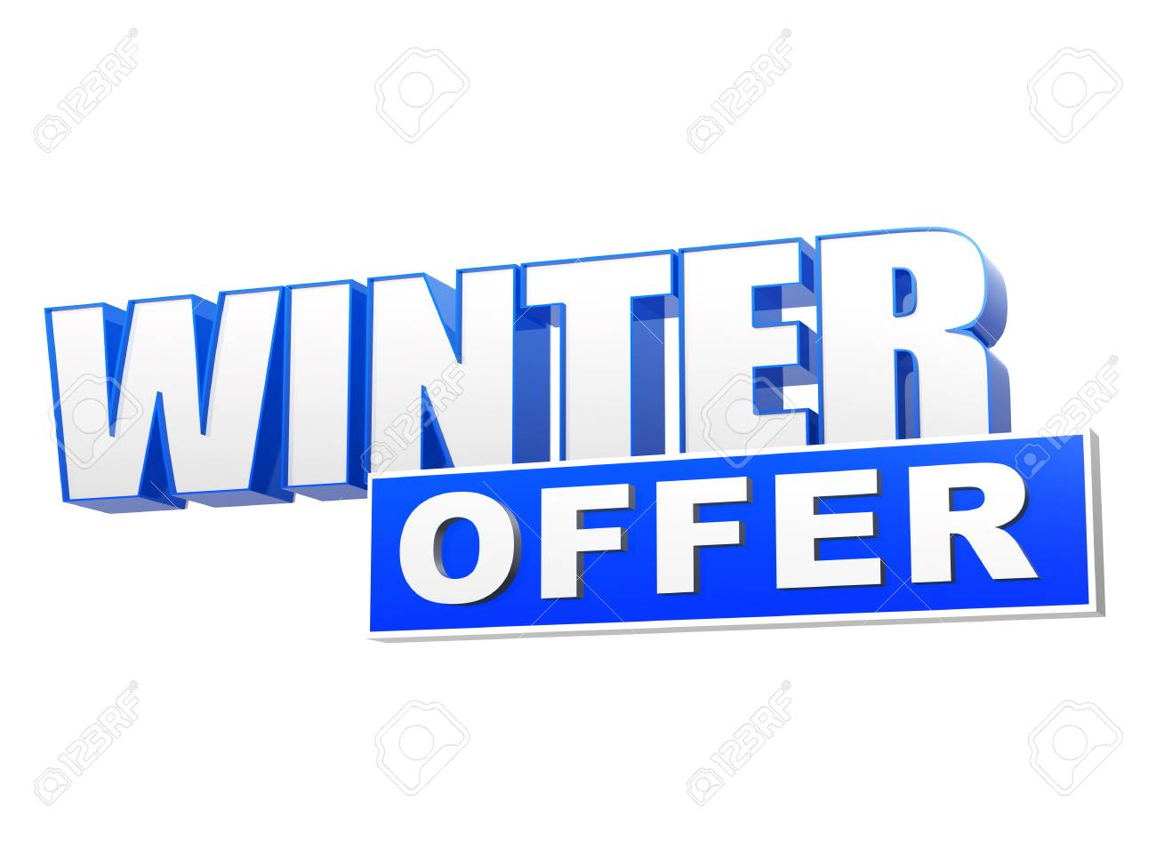 stock photo winter offer in 3d blue letters and block over white background business seasonal concept