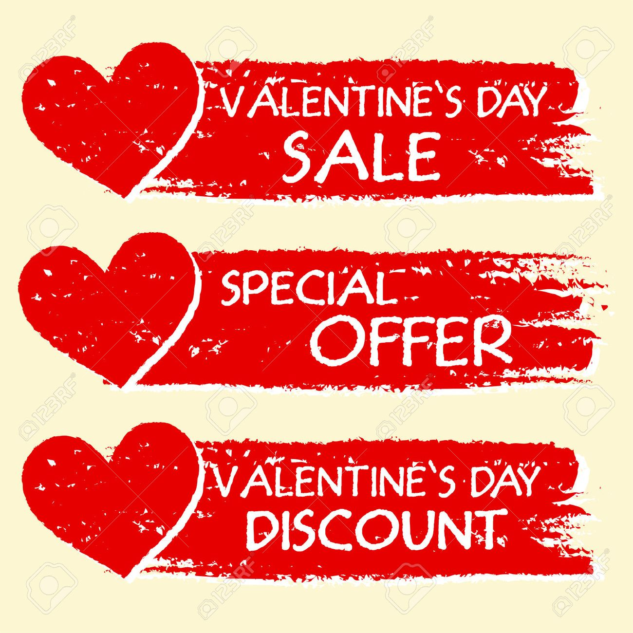 e7178854631c Stock Photo - valentines day sale and discount, special offer - text with  hearts in three red drawn banners
