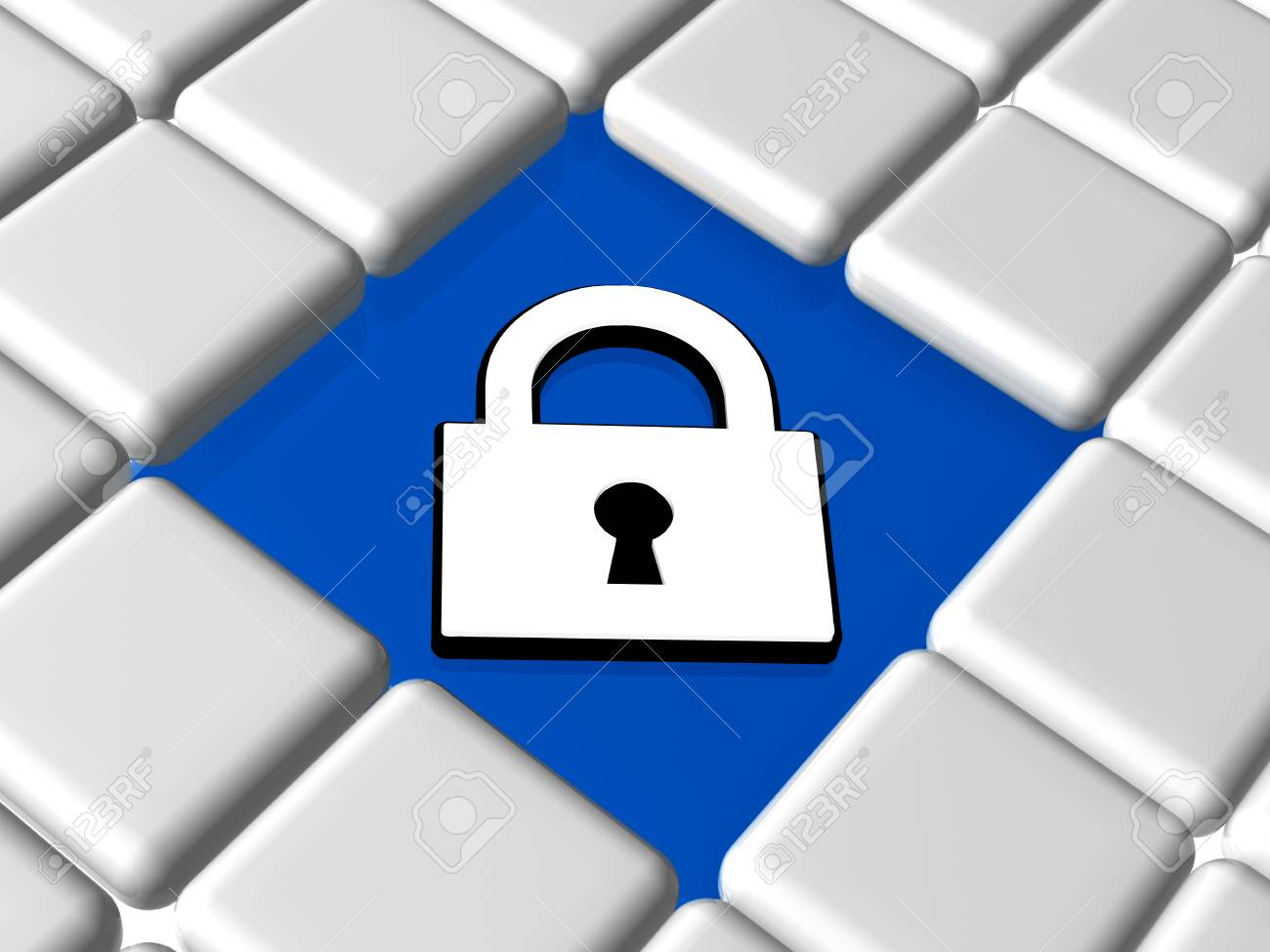 Padlock Sign 3d White Symbol Over Blue Between Grey Boxes Keyboard