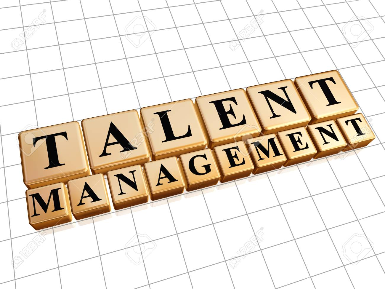 Stock P O Talent Management Text In 3d Golden Cubes With Black Letters Ability Growing Concept Words
