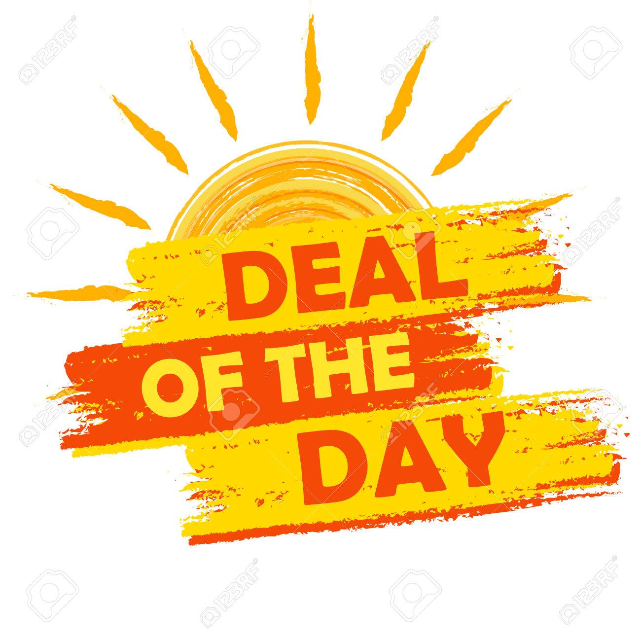 2d66ea70cb05 Stock Photo - summer deal of the day banner - text in yellow and orange  drawn label with sun symbol